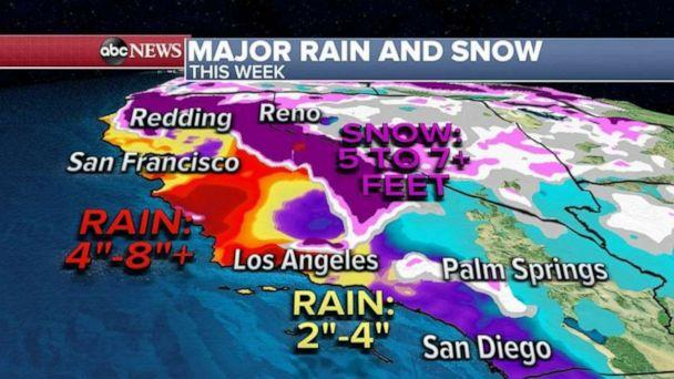 PHOTO: Mudslides and flooding are a major threat for the state of California by Thursday.  (ABC News)