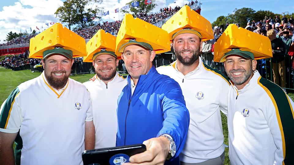 The European team, pictured here wearing cheese head hats at the Ryder Cup.
