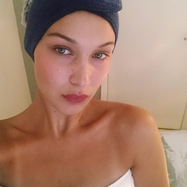 """<p>Bella captioned this no-makeup selfie, """"Silence."""" AKA, she's stunning us into silence with her natural beauty.</p>"""