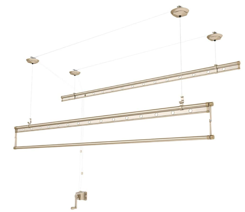 Gold wall and ceiling clothesline with 15 hangers