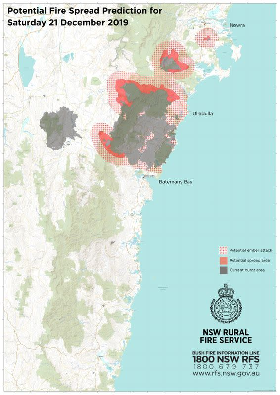 Map shows potential areas where bushfires may spread in New South Wales on Saturday, December 21, 2019
