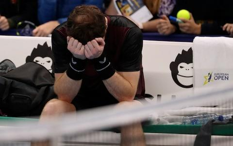 Andy Murray of Britain reacts after winning the European Open final tennis match in Antwerp, Belgium - Credit: Francisco Seco/AP