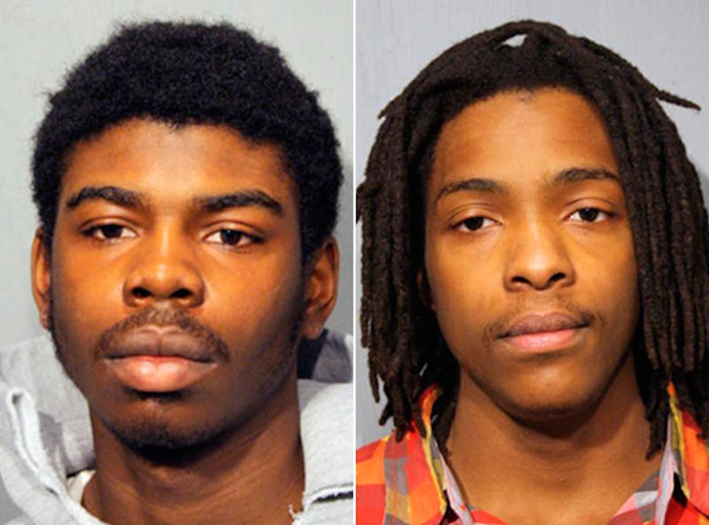 FILE - This combo made from undated booking photos provided by the Chicago Police Department shows Michael Ward, 18, left, and Kenneth Williams, 20, both of Chicago. The two men pleaded not guilty during a hearing Thursday, March 28, 2013 in the Chicago shooting death of Hadiya Pendleton, a 15-year-old girl who performed at President Barack Obama's inaugural festivities about a week before she died.    (AP Photo/Chicago Police Department)
