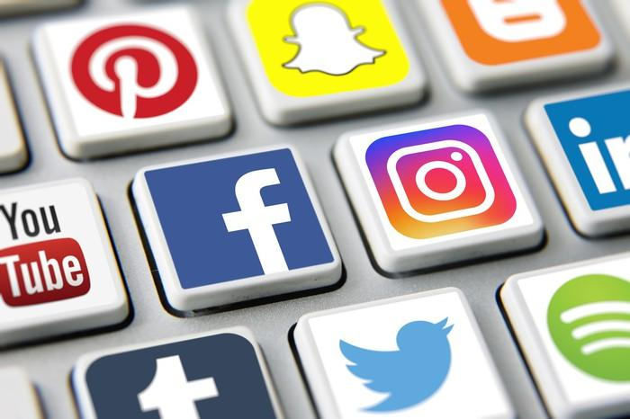 Several buttons bearing social media icons, including Facebook.