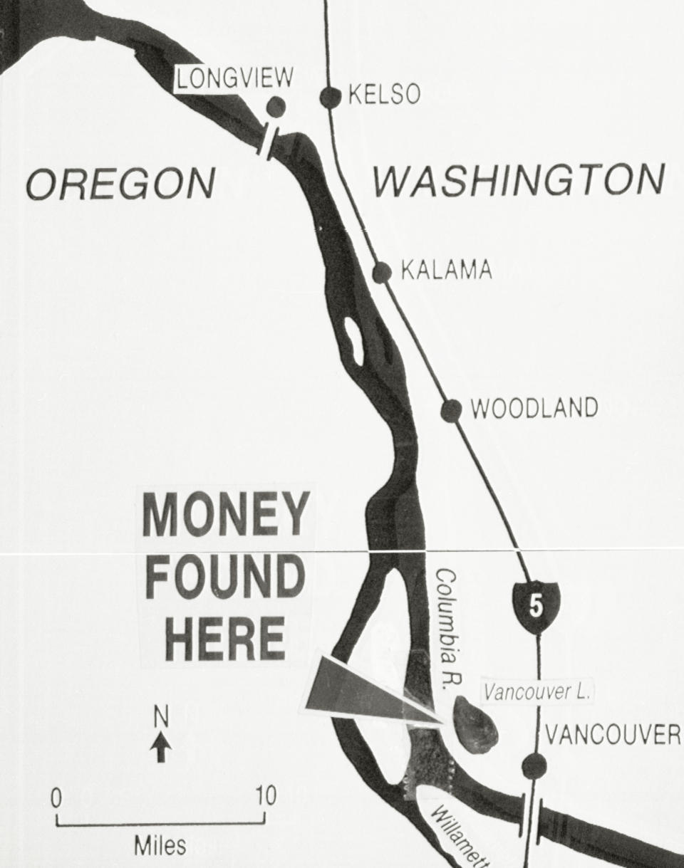 Map spots the area where some several thousand dollars of the D.B. Cooper hijack was found 2/10/80 by Brian Ingram, 8, while on a family outing. (Source: Getty)