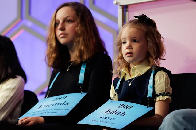 <p>Edith Fuller, 6, of Tulsa, Okla., right, the the youngest speller in history in the national spelling bee, sits next to Lucinda Storz, 14, of Lyndonville, Vt., as they wait to compete in the 90th Scripps National Spelling Bee in Oxon Hill, Md., Wednesday, May 31, 2017. (AP Photo/Jacquelyn Martin) </p>