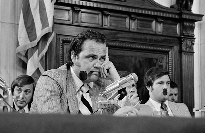 <p>Sen. Fred Thompson, center, listens to questions during the Senate Watergate Committee in Washington, July 11, 1973. Others are unidentified. Barely aware of Watergate when he took the job, Thompson wound up being the one who publicly asked Nixon aide Alexander Butterfield whether there were any listening devices in the White House. (Photo: AP) </p>
