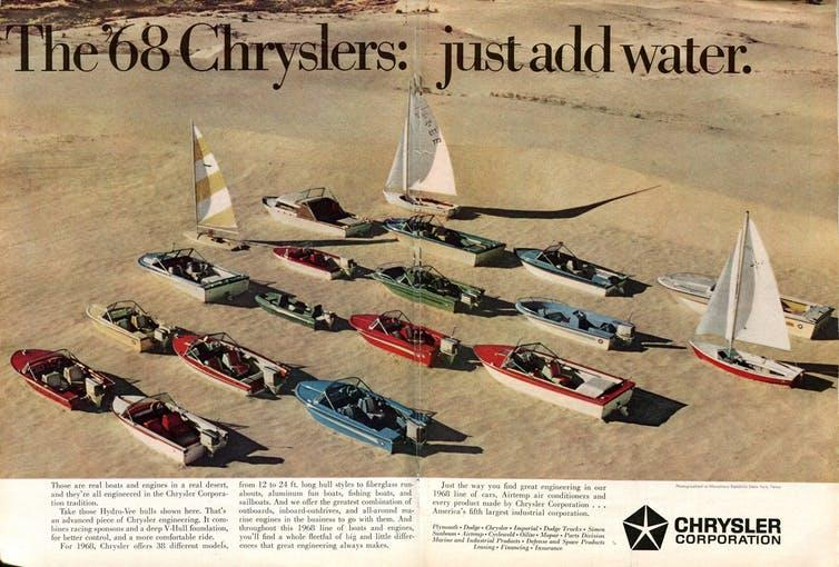 A 1968 magazine advert for Chrysler boats.