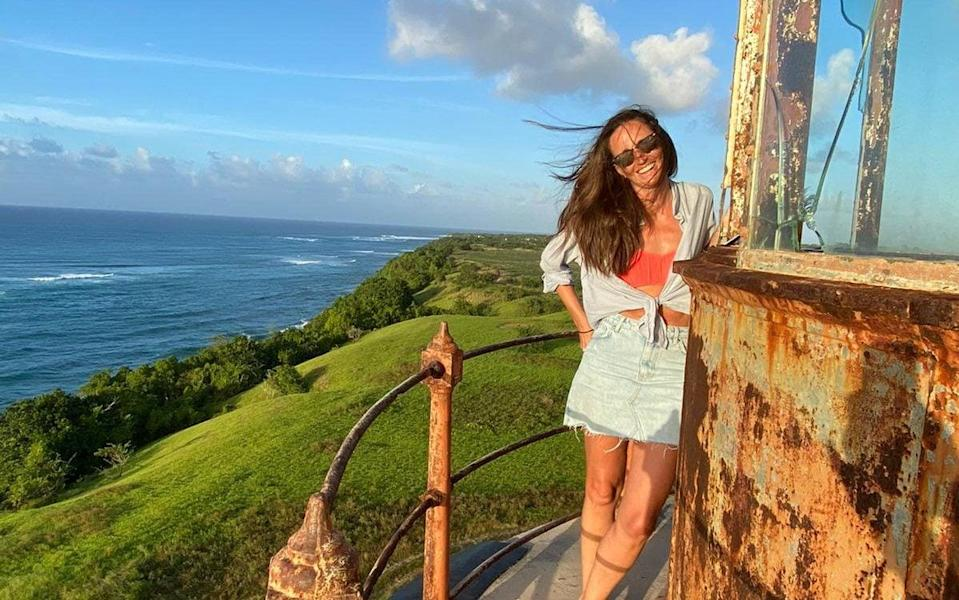 Juliet Fallowfield at Harrison's Point Lighthouse in Barbados