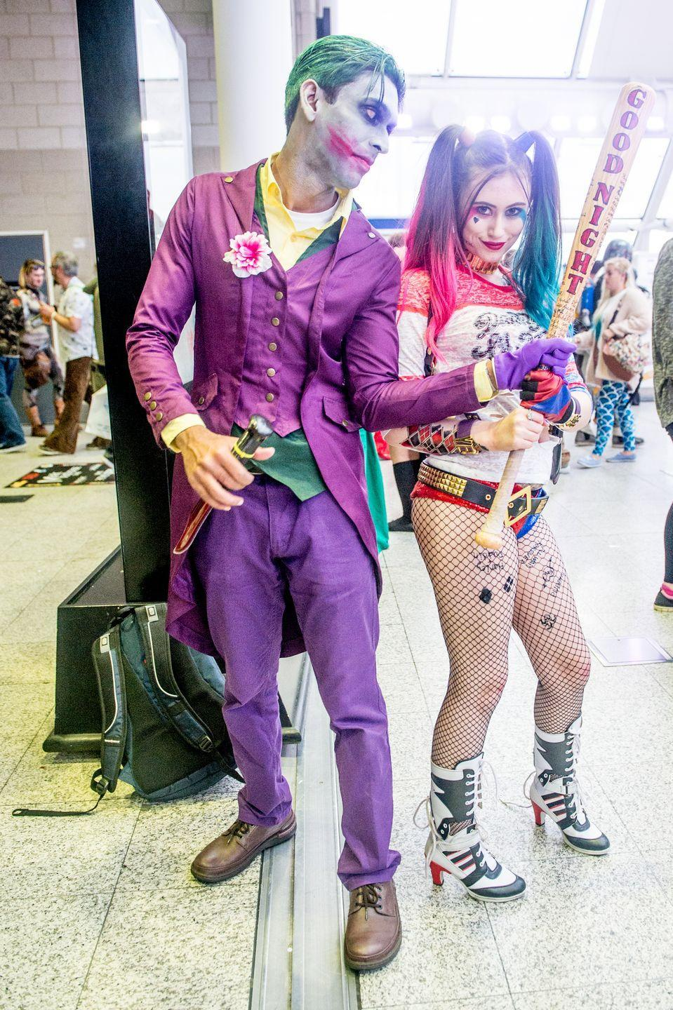 """<p>Let chaos reign by dressing up as Gotham City's most deranged couple — if you have a few key pieces, like purple jeans and sequin hot pants in your closet, this can be an easy last-minute costume to throw together.</p><p><a class=""""link rapid-noclick-resp"""" href=""""https://www.amazon.com/Rubies-Costume-Womens-Suicide-Deluxe/dp/B01COL8S1A?tag=syn-yahoo-20&ascsubtag=%5Bartid%7C10070.g.28669645%5Bsrc%7Cyahoo-us"""" rel=""""nofollow noopener"""" target=""""_blank"""" data-ylk=""""slk:SHOP WOMEN'S COSTUME"""">SHOP WOMEN'S COSTUME</a></p><p><a class=""""link rapid-noclick-resp"""" href=""""https://www.amazon.com/Batman-Knight-Deluxe-Costume-Childs/dp/B001ER6PUC?tag=syn-yahoo-20&ascsubtag=%5Bartid%7C10070.g.28669645%5Bsrc%7Cyahoo-us"""" rel=""""nofollow noopener"""" target=""""_blank"""" data-ylk=""""slk:SHOP MEN'S COSTUME"""">SHOP MEN'S COSTUME</a></p>"""
