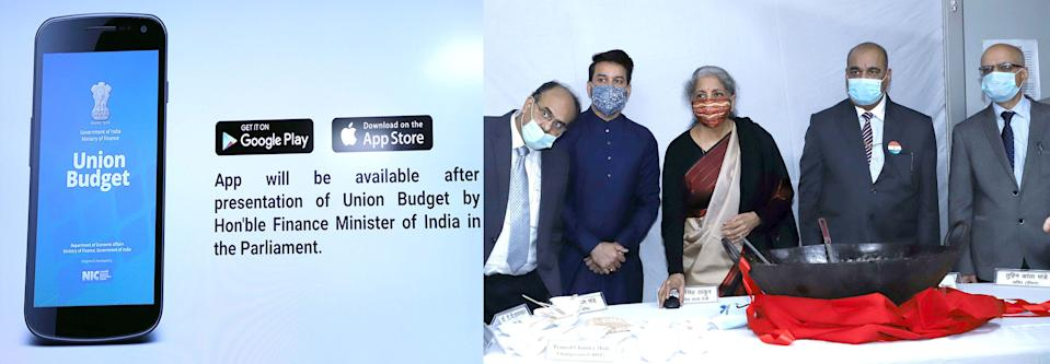 "The Union Minister for Finance and Corporate Affairs, Smt. Nirmala Sitharaman launching the ""Union Budget Mobile App"" to provide easy and quick access to Union Budget information to all stakeholders, at the Halwa ceremony to mark the final stage of the Budget making process for Union Budget 2021-22, in New Delhi on January 23, 2021. The Minister of State for Finance and Corporate Affairs, Shri Anurag Singh Thakur and other dignitaries are also seen."