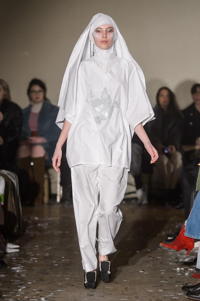 A look from the Vaquera runway show, which was heavy on religious references. (Photo: Imaxtree)