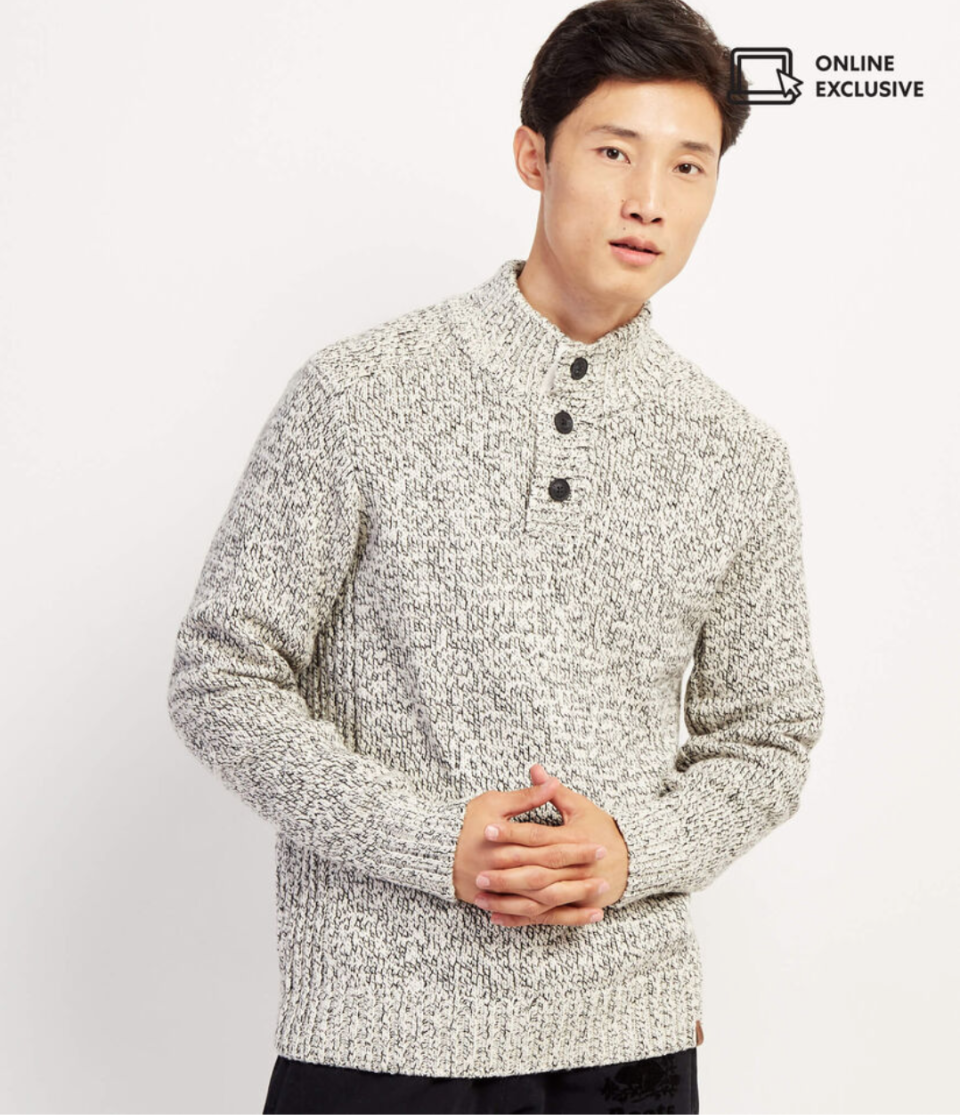 Snowy Fox Mock Neck Sweater. Image via Roots.