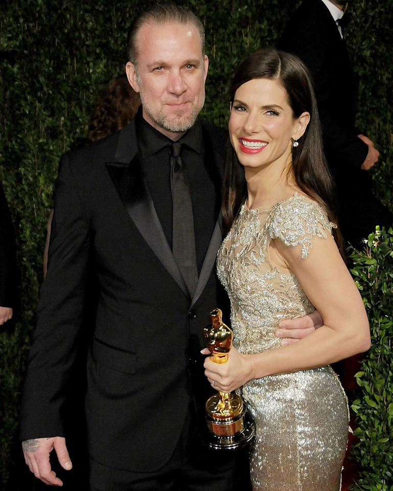"Shortly after Bullock thanked her then-husband of five years during her Golden Globes acceptance speech, the pair decided to split after <a href=""https://abcnews.go.com/Entertainment/sandra-bullocks-husband-jesse-james-returning-wild-women/story?id=10139068"">reports surfaced</a> that James had been unfaithful with multiple women over the course of their relationship.   James swiftly checked into a rehab facility in March 2010 as more reports surfaced of women with whom he had been involved with, while Bullock filed for divorce on April 23, 2010.   Her heartbreak had a happy ending, though, when Bullock ended up adopting a son, Louis, later that year. James said in a statement to PEOPLE at the time, ""Sandy is the love of my life, but considering the pain and devastation I have caused her, it would be selfish to not let her go. """