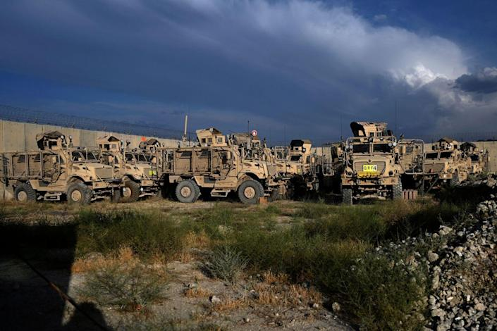 Mine resistant ambush protected vehicles known as MRAPs inside the Bagram base