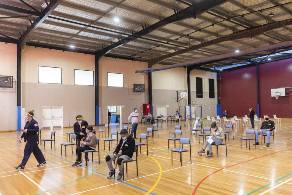 SYDNEY, AUSTRALIA - AUGUST 03:  A pop-up walk-in COVID-19 vaccination clinic at the Parry Park Sports Centre in Lakemba is seen near empty on August 03, 2021 in Sydney, Australia.