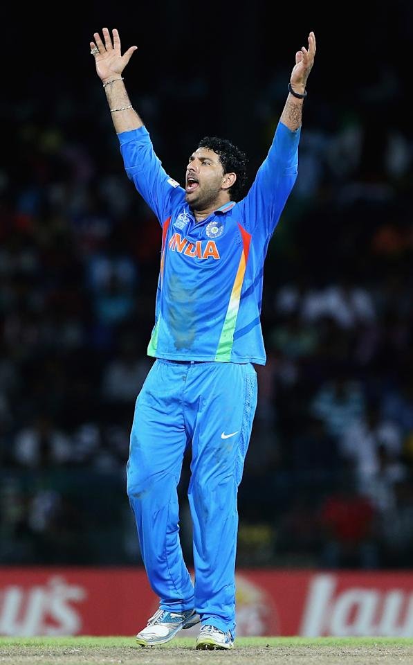 COLOMBO, SRI LANKA - OCTOBER 02:  Yuvraj Singh of India appeals for an LBW during the ICC World Twenty20 2012 Super Eights Group 2 match between India and South Africa at R. Premadasa Stadium on October 2, 2012 in Colombo, Sri Lanka.  (Photo by Matthew Lewis-ICC/ICC via Getty Images)