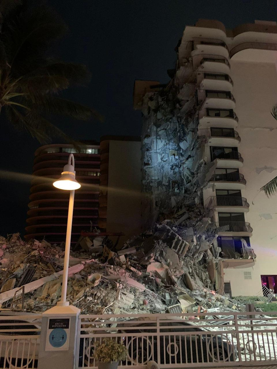 The site of the partial building collapse at 8777 Collins Avenue in Surfside, Florida (Miami Beach Police)