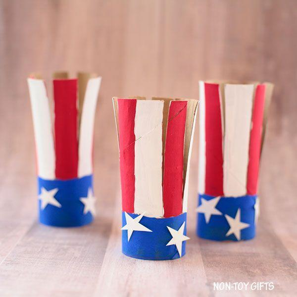 """<p>These paper roll American flags make perfect decorations for your mantel (and you can even place a battery candle inside to enjoy them at night). </p><p><strong><em>Get the tutorial at <a href=""""https://nontoygifts.com/paper-roll-american-flag-craft-kids/"""" rel=""""nofollow noopener"""" target=""""_blank"""" data-ylk=""""slk:Non-Toy Gifts"""" class=""""link rapid-noclick-resp"""">Non-Toy Gifts</a>. </em></strong></p>"""