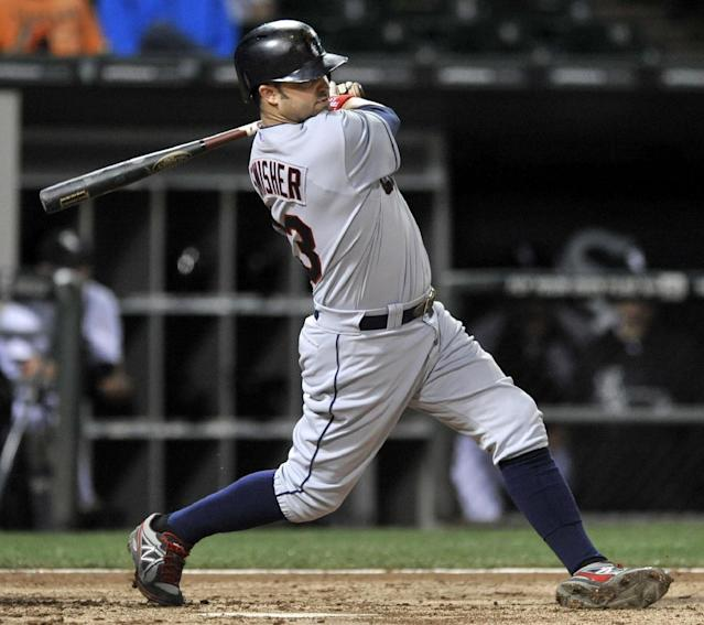 Cleveland Indians' NIck Swisher watches his two RBI-single during the fifth inning of a baseball game against the Chicago White Sox in Chicago, Thursday, Sept. 12, 2013. (AP Photo/Paul Beaty)