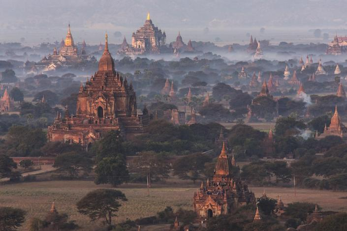 "Some 2,230 surviving Buddhist temples of the Pagan Kingdom dot the landscape of Bagan in Myanmar. ""The variety of the buildings shows how different cultural influences—local, Indian, Vietnamese, et cetera—build on the notional template of a Buddhist temple,"" says Joffe. ""One gains the sense that successive rulers and dynasties tried to outdo each other, or stamp their unique power on the populace. We also sense that religious faith was crucial to the civilization and temples were as important, if not more so, than fortresses, palaces, et cetera."" The kingdom was destroyed by earthquakes and Mongol invasions in 1287 AD."