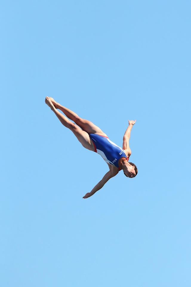 BARCELONA, SPAIN - JULY 30: Ginger Huber of USA competes in the Women's 20m High Diving on day eleven of the 15th FINA World Championships at Moll de la Fusta on July 30, 2013 in Barcelona, Spain. (Photo by Quinn Rooney/Getty Images)