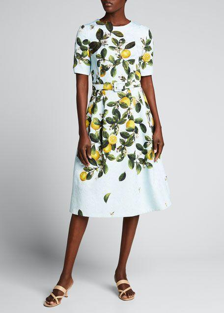 """<p><strong>Oscar de la Renta</strong></p><p>bergdorfgoodman.com</p><p><strong>$2890.00</strong></p><p><a href=""""https://go.redirectingat.com?id=74968X1596630&url=https%3A%2F%2Fwww.bergdorfgoodman.com%2Fp%2Foscar-de-la-renta-lemon-print-belted-midi-dress-prod161710114&sref=https%3A%2F%2Fwww.townandcountrymag.com%2Fsociety%2Ftradition%2Fg36533762%2Flemon-print-fashion-royals-meghan-markle%2F"""" rel=""""nofollow noopener"""" target=""""_blank"""" data-ylk=""""slk:Shop Now"""" class=""""link rapid-noclick-resp"""">Shop Now</a></p><p>Next, we have Jill Biden's iteration of the Oscar de la Renta dress. This version is more structured, belted with elbow-length sleeves. </p>"""