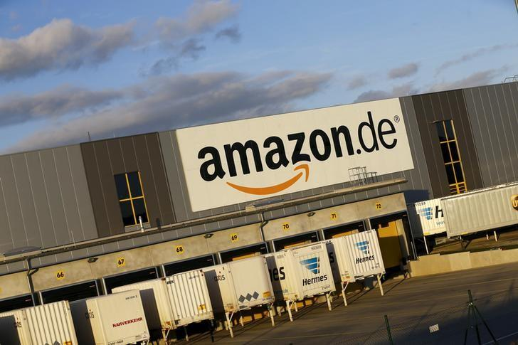 The logo of the German department of Amazon is pictured outside the Amazon logistics center in Koblenz
