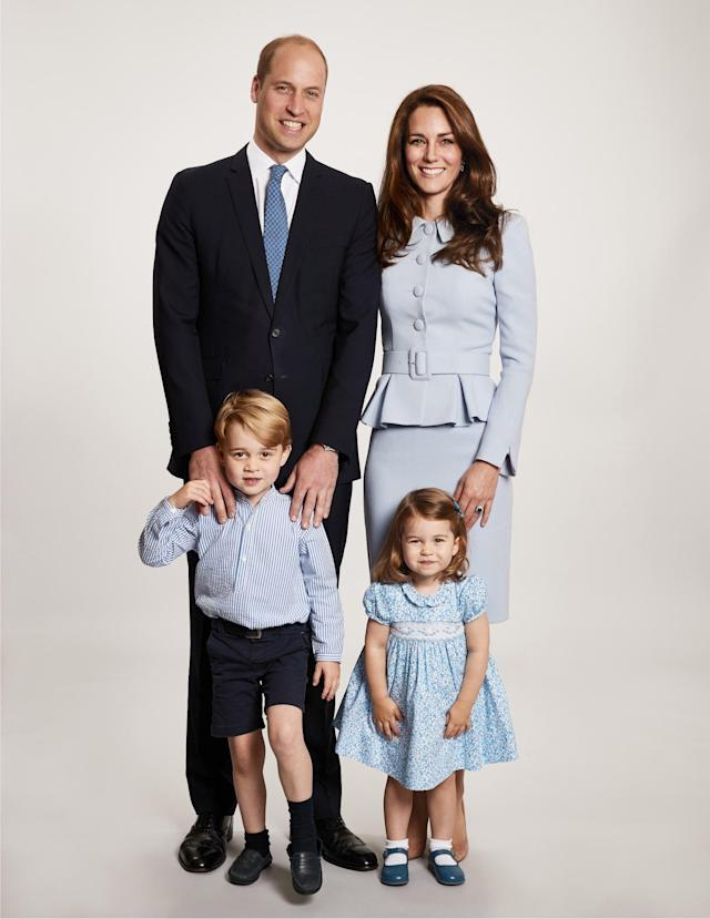 <p>A posed photo of the family of four, taken before the duchess announced her third pregnancy, was selected for the Cambridge Christmas family photo in December 2017. (Photo: Chris Jackson/Getty Images) </p>