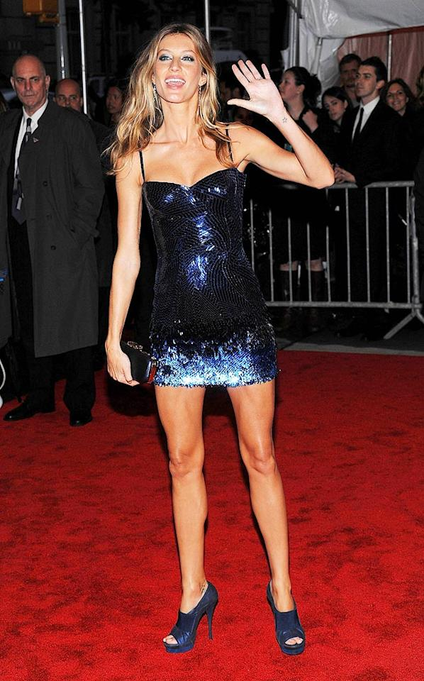 "Supermodel Gisele Bundchen's chunky heels didn't work with her barely-there sequined Versace mini. Dimitrios Kambouris/<a href=""http://www.filmmagic.com/"" target=""new"">FilmMagic.com</a> - May 4, 2009"