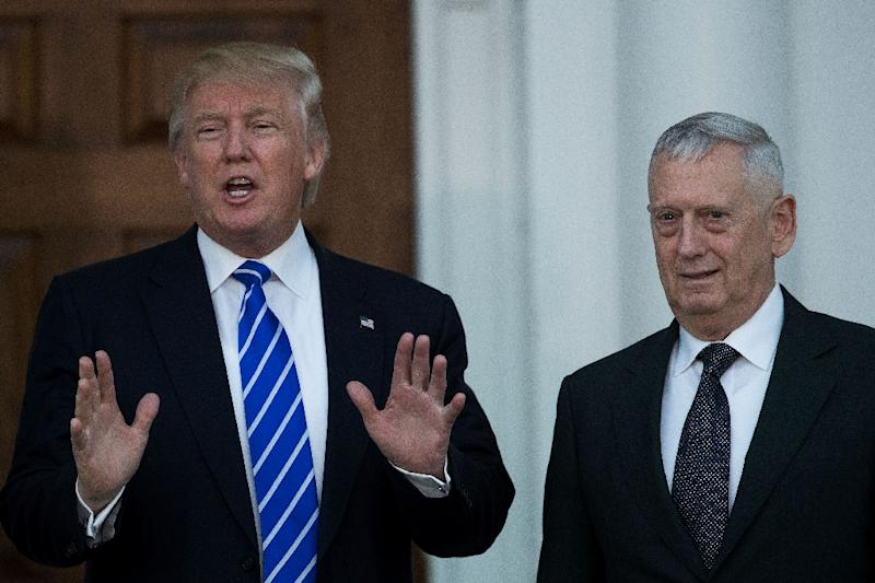 Donald Trump speaks to reporters as he stands alongside retired US Marine Corps general James Mattis (AFP Photo/Drew Angerer)