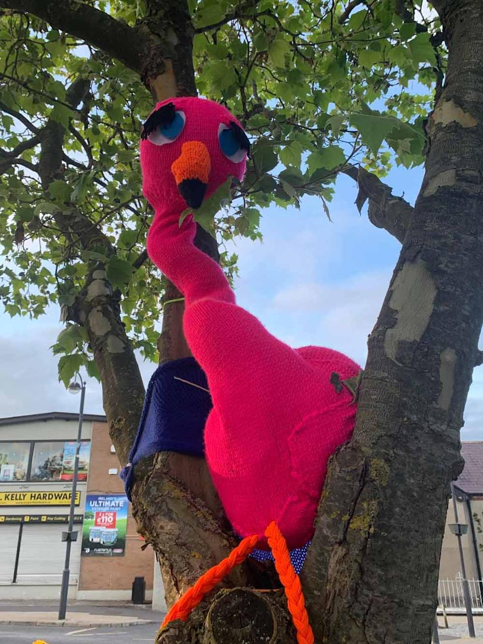 The yarn bomb includes a giant knitted flamingo pictured here (Collect/PA Real Life).