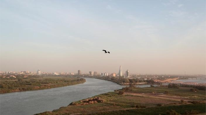 The Blue Nile and the White Nile converge in Khartoum