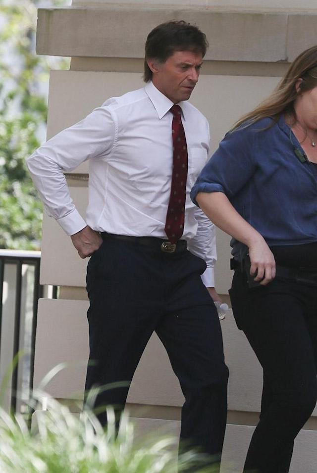 Another view of Hugh Jackman as Senator Gary Hart in <i>The Front Runner</i> on set in Atlanta (Photo: Backgrid)
