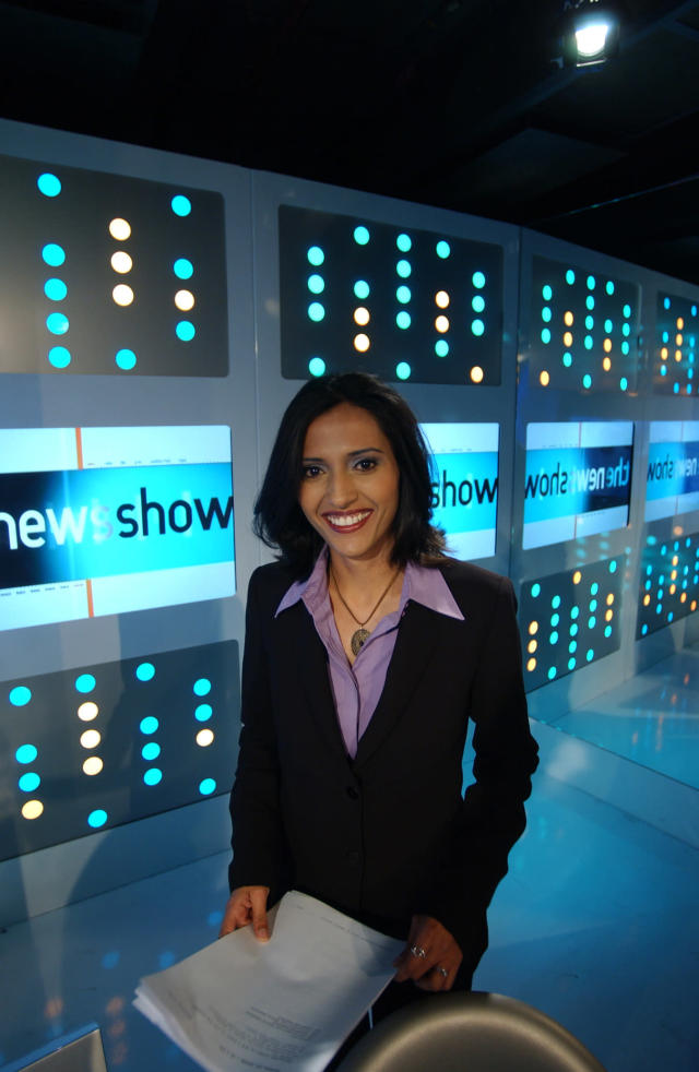 Tazeen Ahmad on BBC Three's The News Show in 2003. (Photo by Jeff Overs/BBC News & Current Affairs via Getty Images)