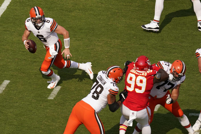 Cleveland Browns quarterback Baker Mayfield (6) scrambles during the first half of an NFL football game against the Kansas City Chiefs Sunday, Sept. 12, 2021, in Kansas City, Mo. (AP Photo/Charlie Riedel)