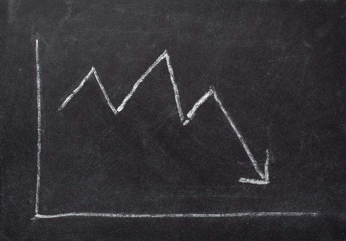 A chalkboard sketch of a chart with a downward-sloping arrow.