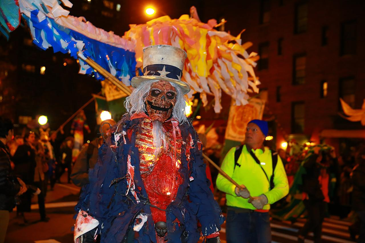 <p>A man wears a ghoulish Uncle Sam political costume at the 44th annual Village Halloween Parade in New York City on Oct. 31, 2017. (Photo: Gordon Donovan/Yahoo News) </p>