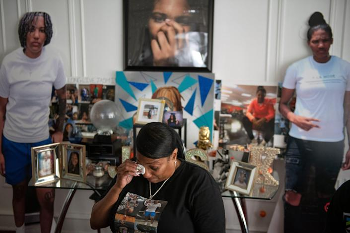 Karen Robinson discusses her late daughter, Jasmine Lewis, at her home in North Philadelphia.