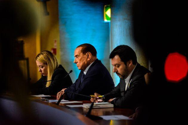 Giorgia Meloni (L), leader of Fratelli d'Italia (Brothers of Italy) party, Silvio Berlusconi, President of Forza Italia (Go Italy) and former Italian Prime Minister, and Matteo Salvini, leader of Lega Nord (North League) party, take part at a political meeting organised by the centre-right coalition for the upcoming general political election in Rome, Italy on March 01, 2018. The Italian General Election takes place on March 4th 2018. (Photo by Michele Spatari/NurPhoto via Getty Images) (Photo: NurPhoto via Getty Images)