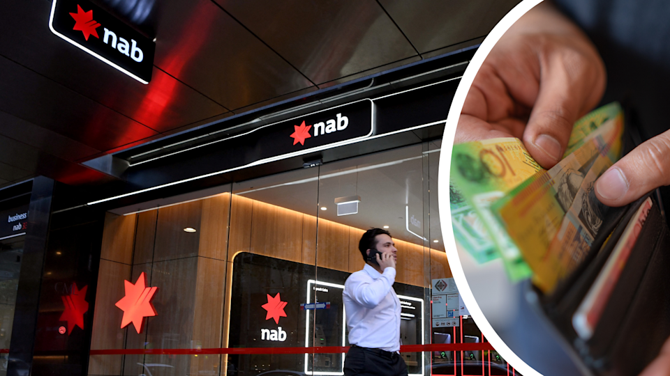 A man walks by a NAB branch while talking on the phone and a person removing money from a wallet.