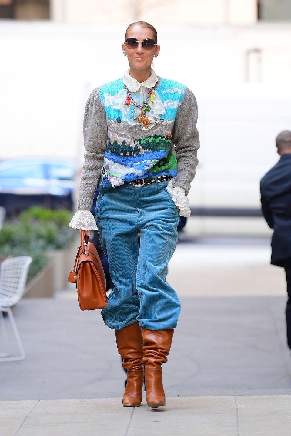 <p>Celine clearly has the slouch trend down pat based on this colorful Marc Jacobs look she wore while out in New York City. <br></p>