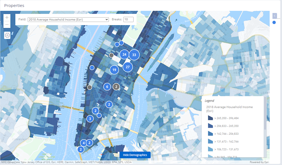 Esri Data on a Map within DealCloud Real Estate Investment Software