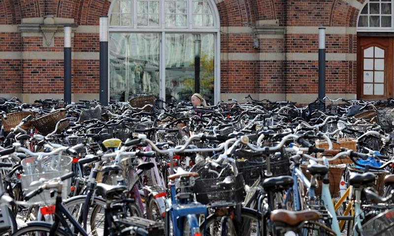 Cycles parked in Copenhagen, where bikes outnumber cars.