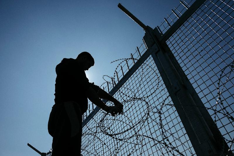 A Worker Installs Barbed Wire To A Border Fence To Prevent Illegal  Crossings By Migrants At