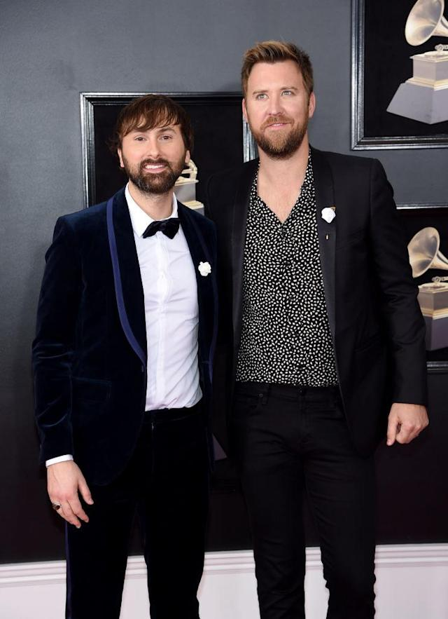 <p>Dave Haywood (left) and Charles Kelley of Lady Antebellum attend the 60th aAnnual Grammy Awards at Madison Square Garden in New York on Jan. 28, 2018. (Photo: Jamie McCarthy/Getty Images) </p>