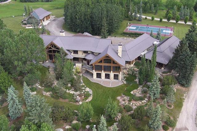 <p>No. 5: <span>242004 Range Road 32, Calgary, Alta.</span><br> List price: $30,000,000<br> Appearing at No. 4 on our spring list, Kestrel Ridge Farm has actually moved up on the summer ranking of pricey homes. The home has six bedrooms and six bathrooms, and sits on 160 acres on the Elbow River. The luxury log home has a tennis court, indoor salt-water swimming pool, and is home to a world-class equestrian and dressage training facility, designed to host National Horse Shows. Last year, the home was No. 6 on the list. (Photo: Sotheby's International Realty Canada) </p>