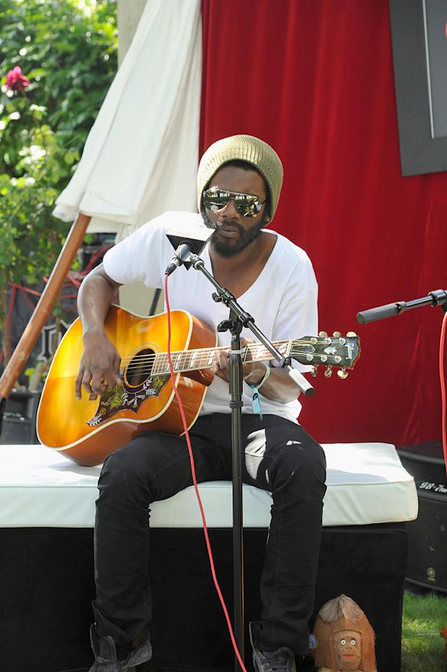 Gary Clark Jr. performs at the Lacoste Live pool party during the Coachella Music Festival in Thermal, California.