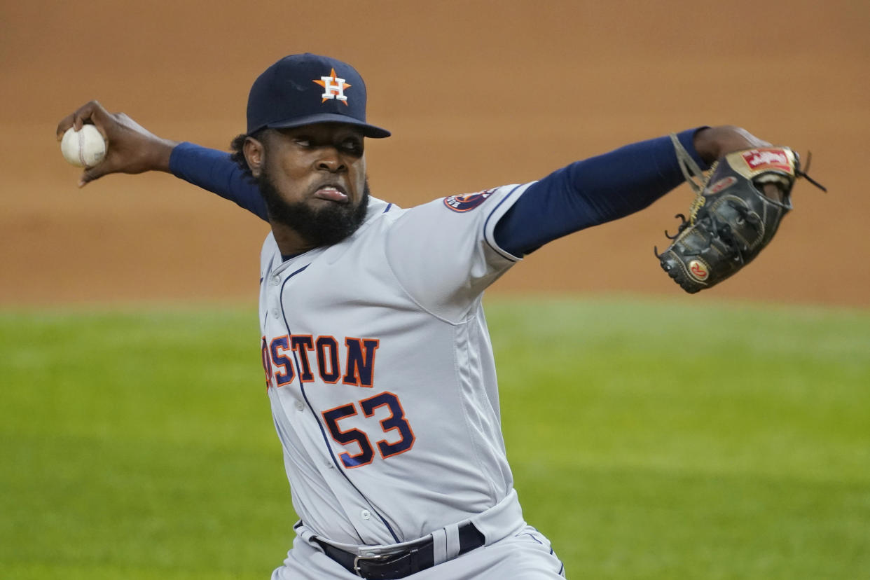 Houston Astros' Cristian Javier pitches during the first inning of the team's baseball game against the Texas Rangers in Arlington, Texas, Thursday, Sept. 24, 2020. (AP Photo/Tony Gutierrez)