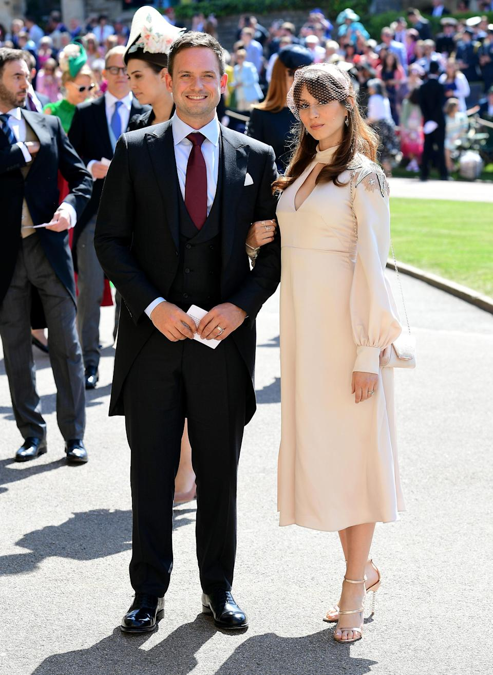 <p>Patrick, wearing Canali, starred as Meghan's boyfriend-turned-husband in 'Suits' while Troian previously starred in US hit show 'Pretty Little Liars'. <em>[Photo: PA]</em> </p>